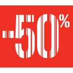 Affiche -50% barcode rouge 40x40 cm