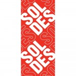 Affiche soldes 30x72 cm rouge TRADITIONNEL papier